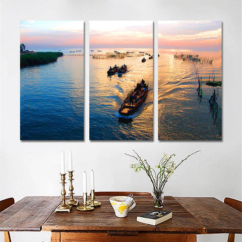 3 Pieces Wall Art Decor Seaview Sea Modern Print on Canvas Art Posters Oil Painting Unframed Landscape Painting Home Decoration