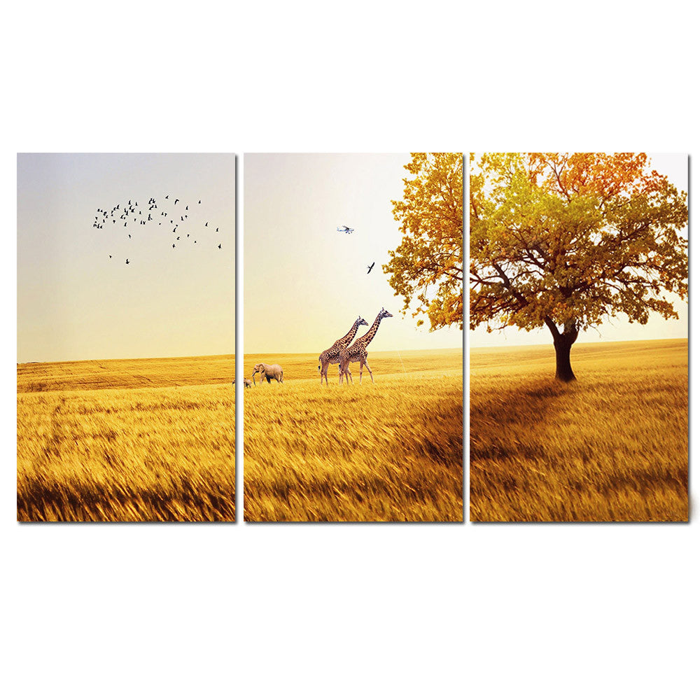 Deer Canvas Painting Animal Landscape Yellow Poster and Print Home ...