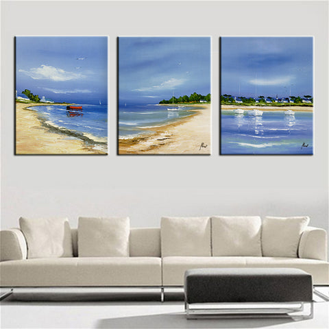 3 Panels Paintings for Bedroom Seascape Beach Wall Decor Modern Canvas Art Wall Pictures for Living Room Descorative Pictures