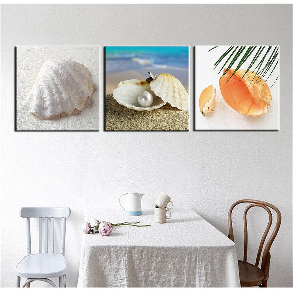 3 Piece Oil Painting Dining Room Modern Wall Shell Decorative Art Pictures Print