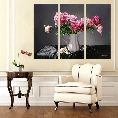 3 Pieces Canvas Art Pink Flower on White Vase Art Pringt Home Decor Black Background Oil Painting for Living Room Wall Frameless