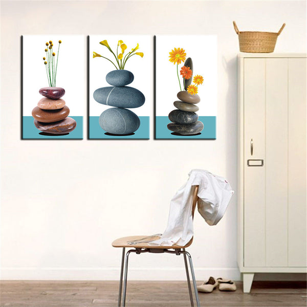 3 Panel Modern Wall Art Home Decoration Oil Painting on Canvas Wall Art Prints Pictures Flowers on Stones Unframed
