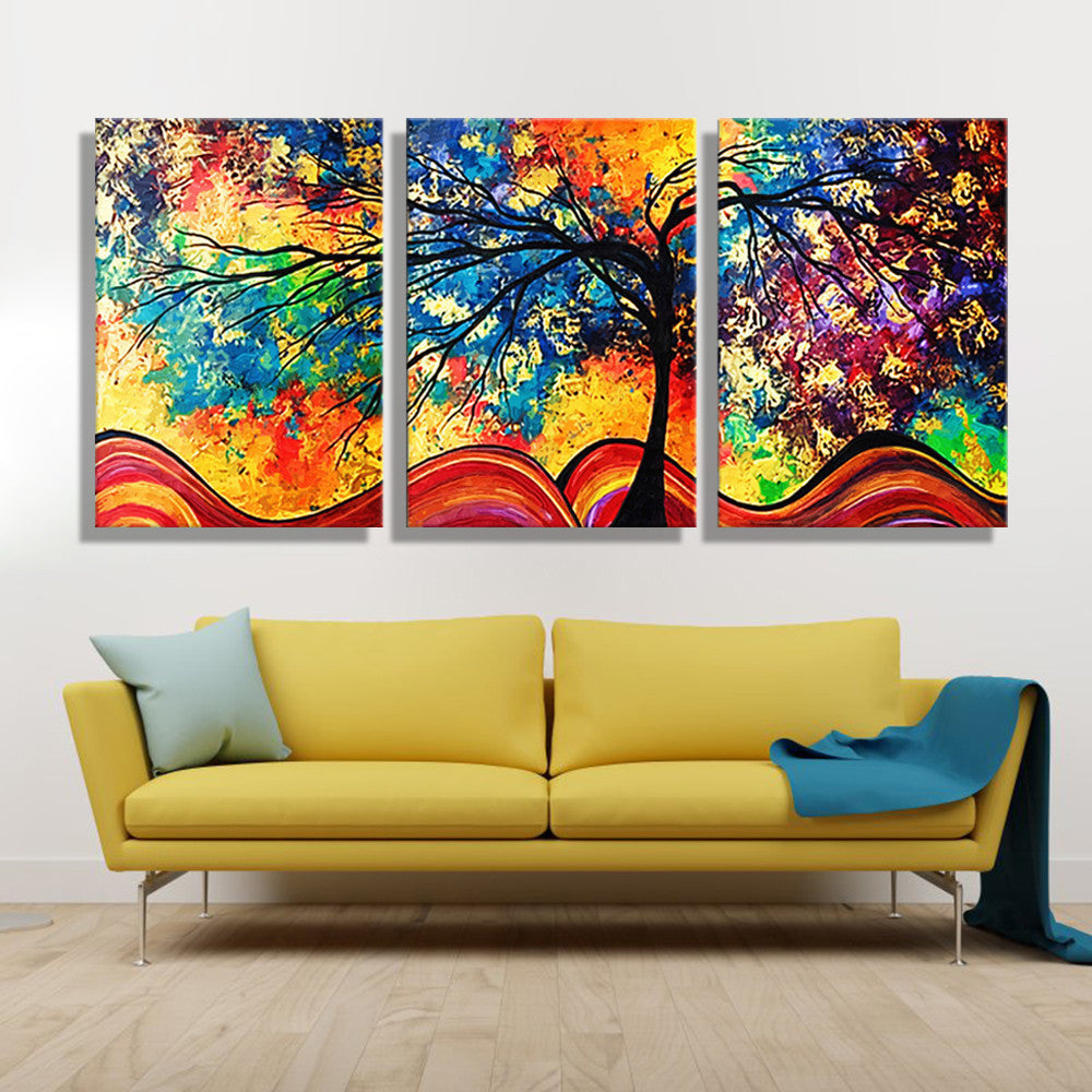 Oil Painting Canvas Colorful Tree Wall Art Decoration Painting Home ...