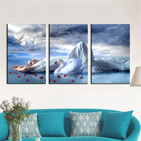 3 Panel Canvas Painting Oil Painting Portrait Girl Print on Canvas Home Decor Wall Art Wall Picture for Living Room Unframed