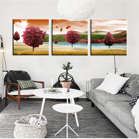3 Panel Modern Abstract Flower Oil Painting On Canvas Wall Art Cuadros Flowers Picture Home Decor For Living Room No Frame