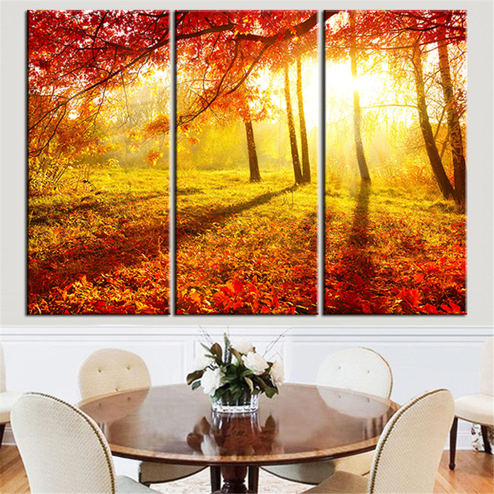 Unframed Canvas Painting Red Tree Landscape Sun Scenery Home Decor ...