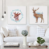 3pcs Modern Art Simple Art Watercolor Deer's Whisper Flower Print Canvas Poster Wall Picture Restaurant Home Decorative Painting