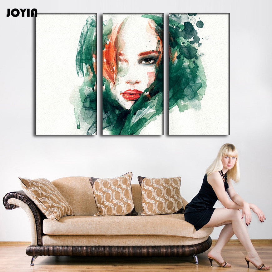 3 Piece Canvas Painting Long Hair Beauty Woman Room Wall Pictures Abstract Green Watercolor Bedroom Decoration No Frame