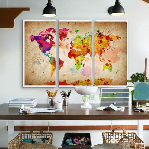 3 pieces canvas wall art canvas painting World Watercolor Map landscape wall Pictures for living room HD print unframed