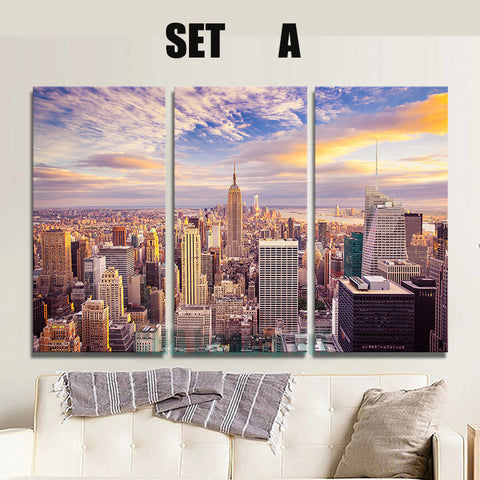 3 Panels New York city picture canvas painting Modern wall picture for living room unframed decorative art print on canvas