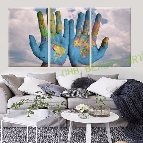 3 Piece Canvas World Map.3 Piece Canvas Wall Art World Map In Hand Printed Painting On Canvas