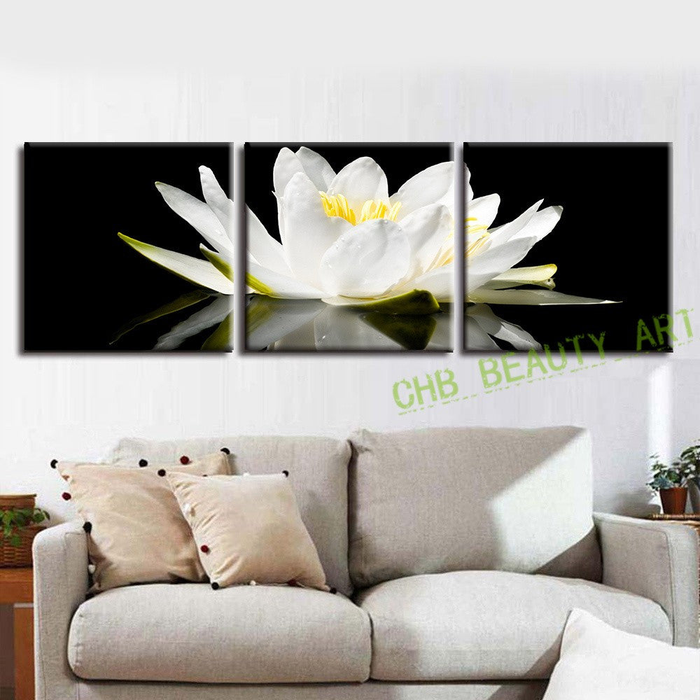 3 pcs set canvas print flower white lotus in black wall art modern pai ellaseal. Black Bedroom Furniture Sets. Home Design Ideas