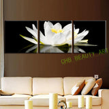 3 Pcs/Set Canvas Print Flower White Lotus In Black Wall Art Modern Paintings Wall Pictures For Living Room