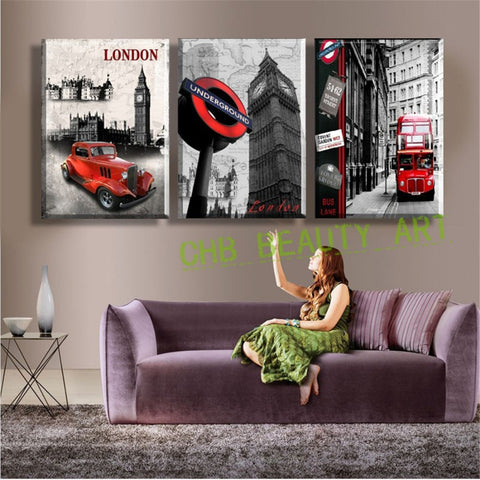 3 Panel Wall Art Paintings Famous London Building Wall Pictures For Living Room Modern Decorative Picture Unframed