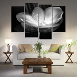 4 Panel Gold Flower Printed Painting Canvas Picture Wall Pictures For Living Room Wall Art Decorative Picture UnFramed