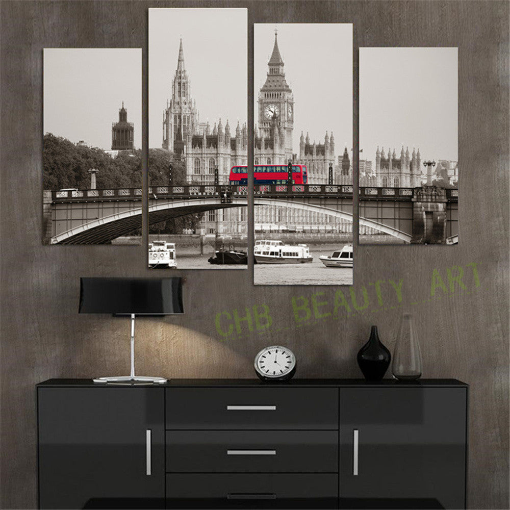 4 Piece Retro Style London Red Bus Canvas Print Canvas Painting Home Decor Wall Art Picture for Living Room No Frame