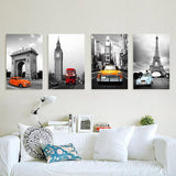 4 Piece oil style Painted Paris Eiffel Tower  Wall Painting pictures Home Decoration Abstract Landscape On Canvas Unframed