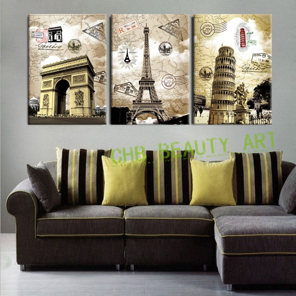 Perfect 3 Panel Canvas Paintings Art European Paris Italy Tower Wall Pictures U2013  EllaSeal