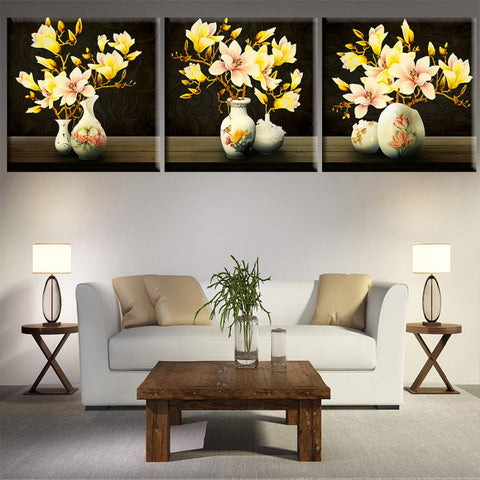 3 Panels Gold Flowers Canvas Art Modern Print Painting Wall Pictures For Living Room Decoration Pictures