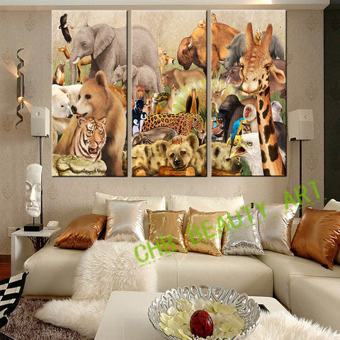 3 Pieces Canvas Wall Art Canvas Painting Animal World  Wall Pictures For Living Room Artwork For Child Room HD Print Unframed