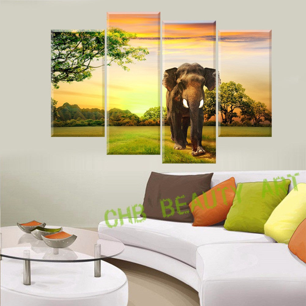 4 Panels Elephant Canvas painting Home Decor Wall Art  Prints of Animal Artwork Wall Pictures For Living Room Unframed