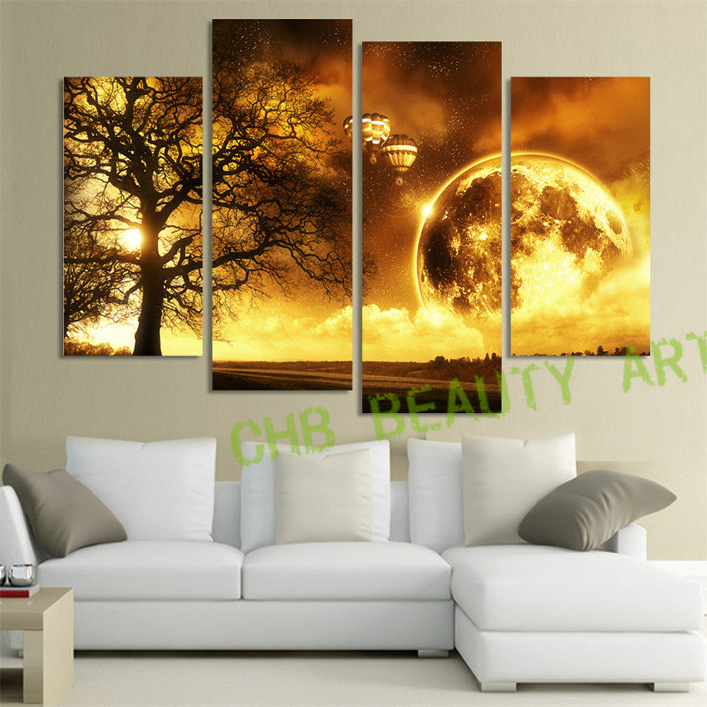 4 Panel Gold Moon Tree Printed Painting Universe Space Canvas Picture Earth Landscape Painting For Living Room Wall Art Unframed