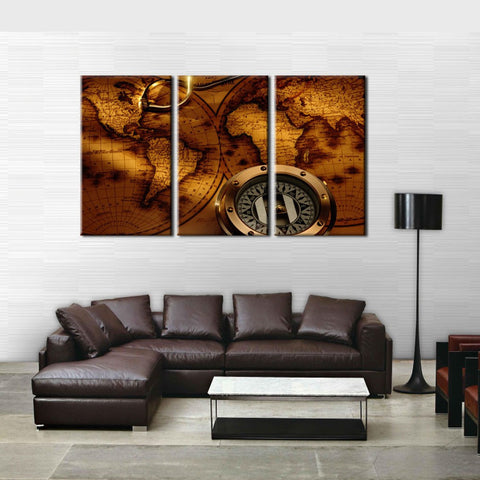 3 Panel Vintage Compass World Map HD Wall Art  Canvas Print Painting For Living Room Decoration Picture Unframed