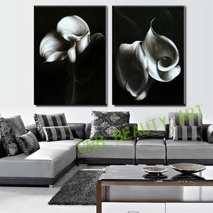 2 Pcs Modern Abstract Painting Art Black Flower Print Canvas Painting Wall Pictures for Living Room Decorative Pictures Unframed
