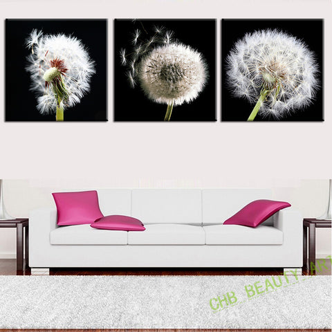 3 pieces canvas wall art canvas painting Dandelion landscape wall Pictures for living room HD print Unframed