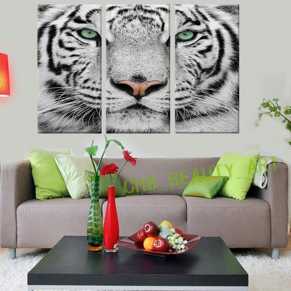 3 panels blue tiger eyes canvas painting printed painting home decor wall painting art wall pictures