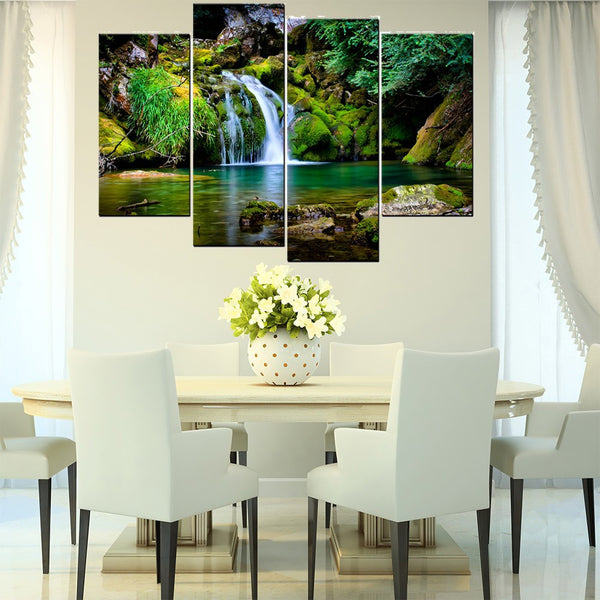 4 panel canvas painting green forest waterfall wall art picture printed landscape painting on canvas for living room (HD PRINT)