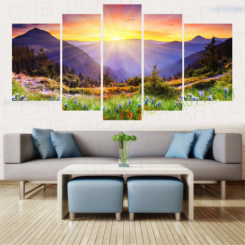 5 Panel Canavs Painting Art Mountain Forest Sunshine Home Decoration Wall Pictures For Living Room Canvas Print Unframed