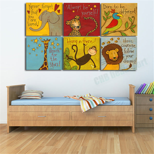 6 Piece Canvas painting Oil Painting Modern cartoon animals wall pictures kids room wall deco No Frame