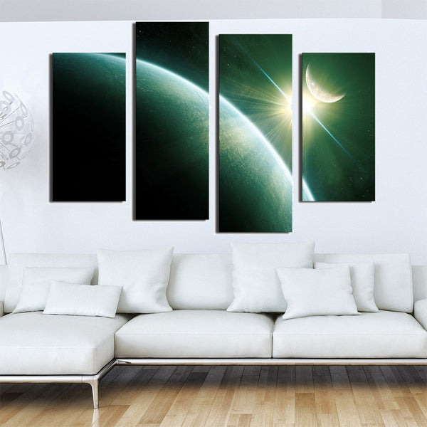 4 Panel Modern Wall Art Abstract Space Moon Stars Picture Print On Canvas Paintings Home Decoration For Living Room HD print