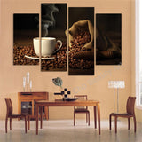4 Piece canvas art Coffee Kitchen modern abstract  painting wall pictures for living room decoration pictures unframed