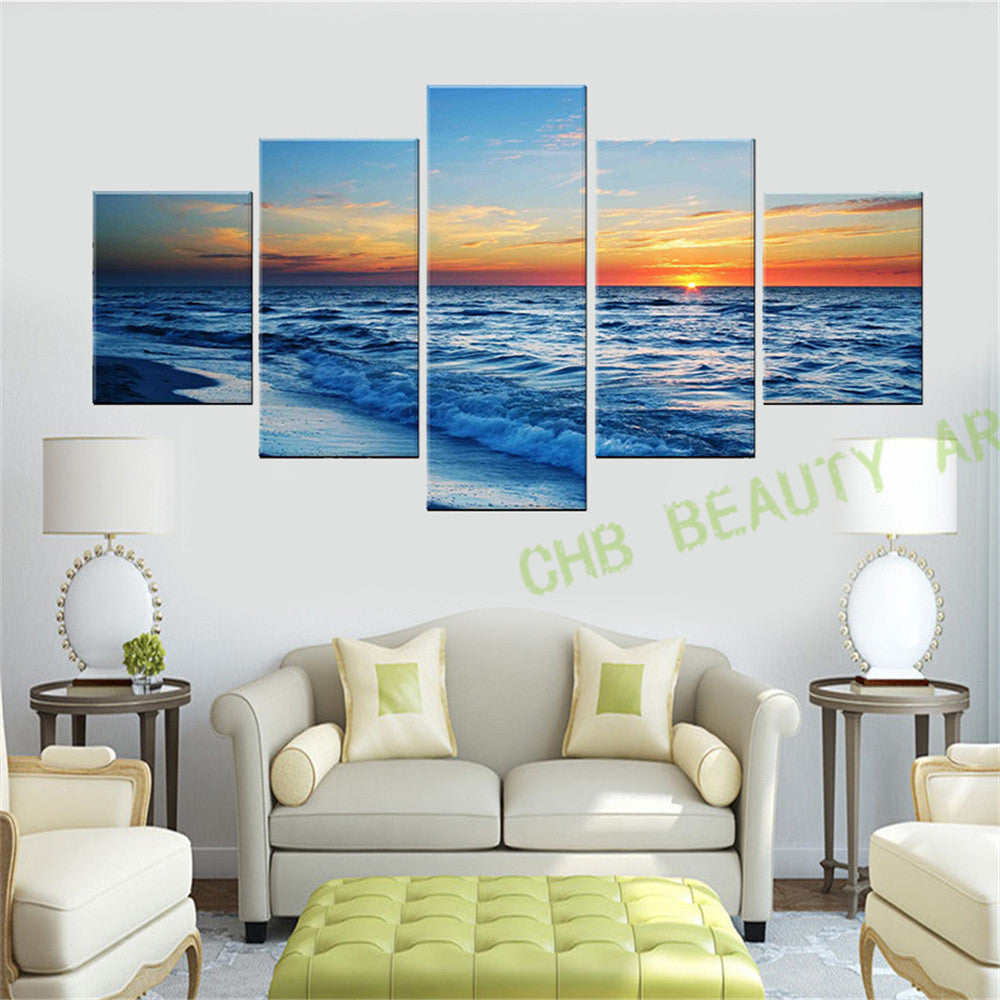 5 Panel Oil Painting Large Modern Prints Beach Seascape Sea Wave Sunset Painting Wall Pictures For Living Room