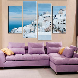 4 Panel Greece Aegean Sea Canvas Painting Art Home Decor Canvas Poster Print Wall Pictures For Living Room Frameless