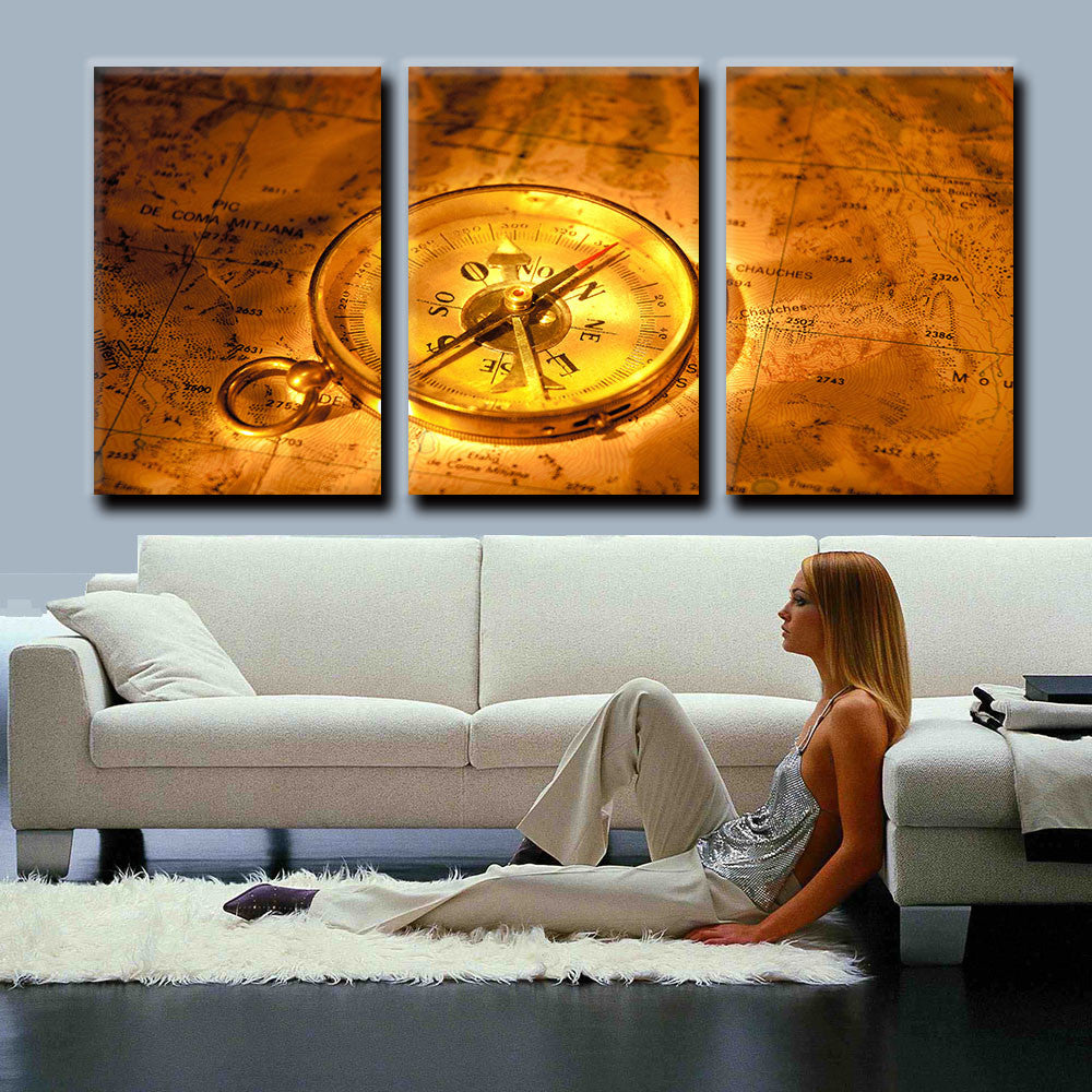 3 Panel Modern Canvas Art Golden World Map With Compass Oil Painting HD Printed on Canvas Wall Pictures For Living Room Unframed