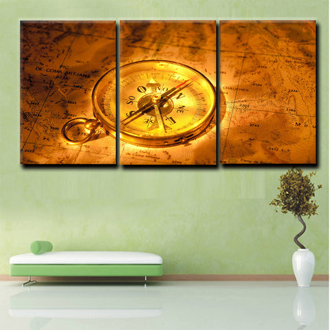 3 panel modern canvas art golden world map with compass oil painting 3 panel modern canvas art golden world map with compass oil painting hd printed on canvas gumiabroncs Gallery