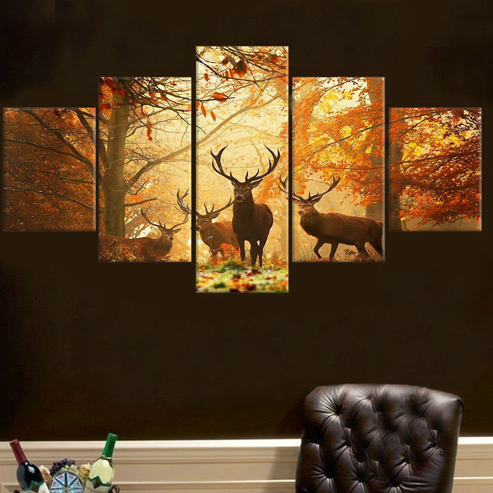 No Frame 5 Pcs Deer Wall Painting Modern Tree Canvas Painting Art Animal Wall Picture For Living Room Bedroom Home Decor