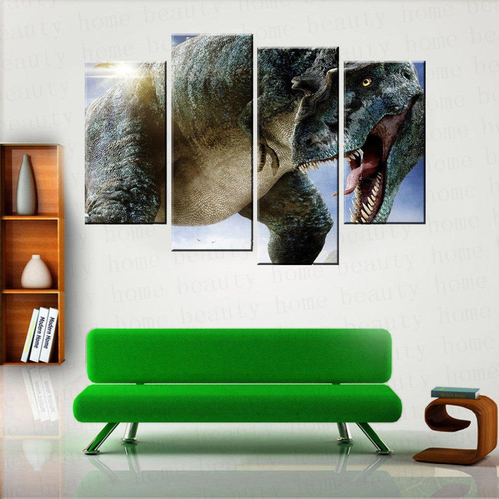 4 Panels Printed posters modern big Dinosaur picture wall painting for Living room home decoration Canvas art Unframed
