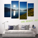 4 piece canvas painting (No Frame) sea sunshine mountain wall pictures for living room canvas prints decorative picture