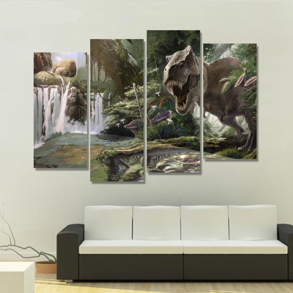 4 Panels canvas art canvas painting Modular pictures spray Jurassic Park dinosaur image modern home decoration wall art unframed