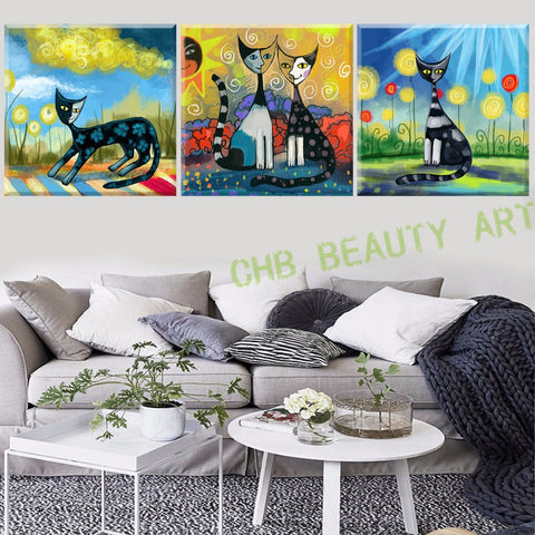3 Panel Modern Abstract Canvas Art Printed Painting On Canvas Animal Cat Wall Pictures For Living Room  No Frame