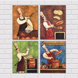 4 Pieces Modern Abstract Canvas Painting Funny Chef  Wall Art For Kitchen Room Dinner Room Canvas Prints Unframed