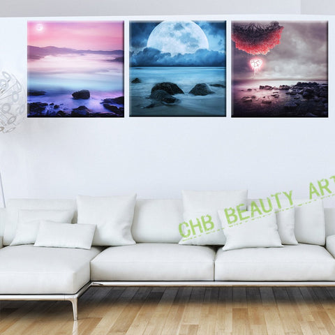 3 Piece Beauty Earth Psychedelic Art Painting Canvas HD Prints Wall Pictures For Living Room Decorative Picture Unframed