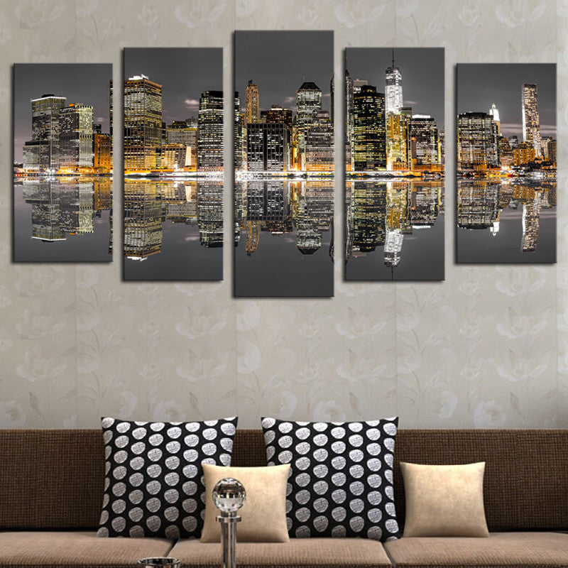 (No Frame) 5 Piece New York City Night Modern Wall Decor Canvas Art Print Painting On Canvas Wall Pictures For Living Room