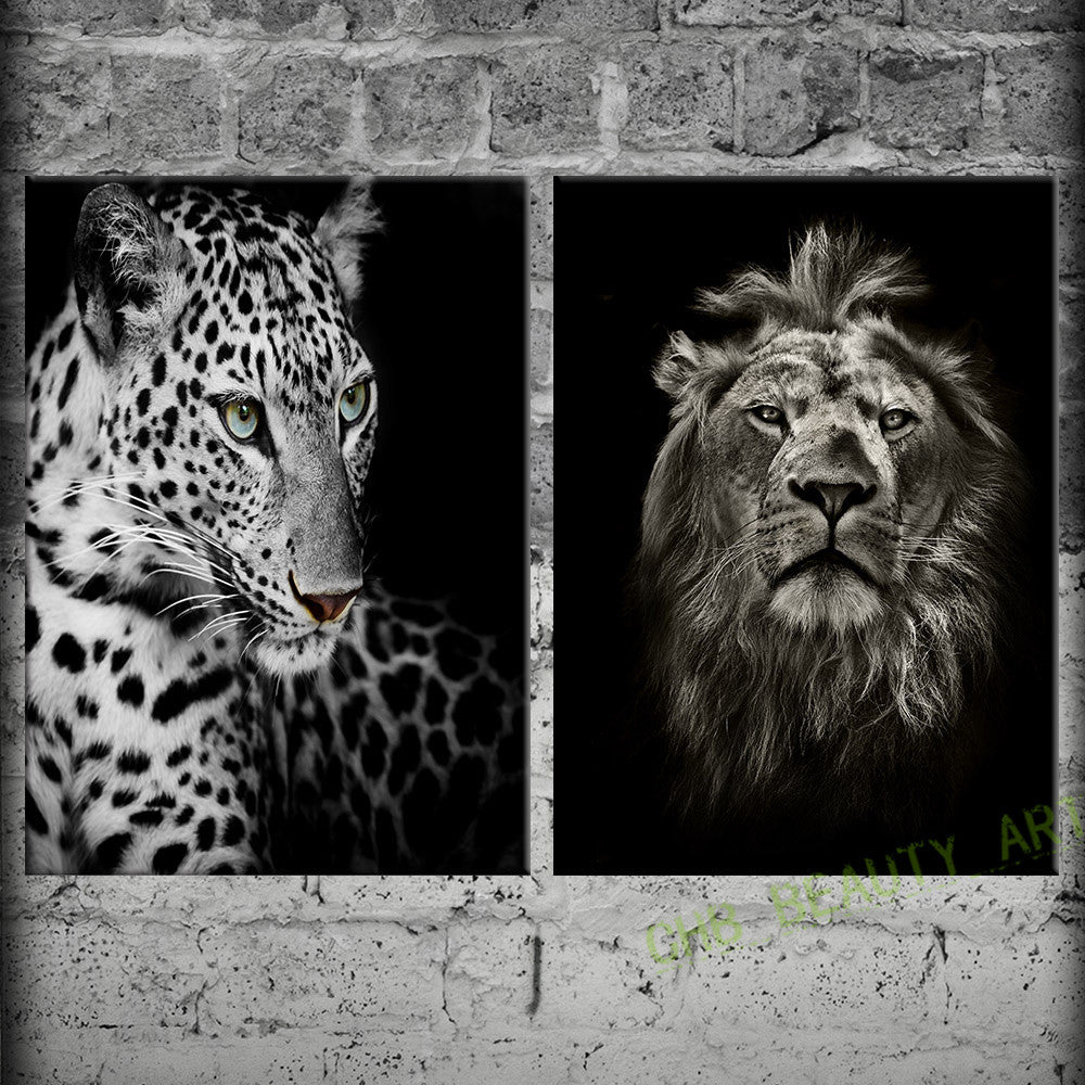 2 panels black and white lions and leopard canvas painting wall art wa ellaseal