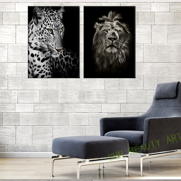 2 Panels Black And White Lions and Leopard Canvas Painting Wall Art Wall Pictures For Living Room Print Animal Unframed