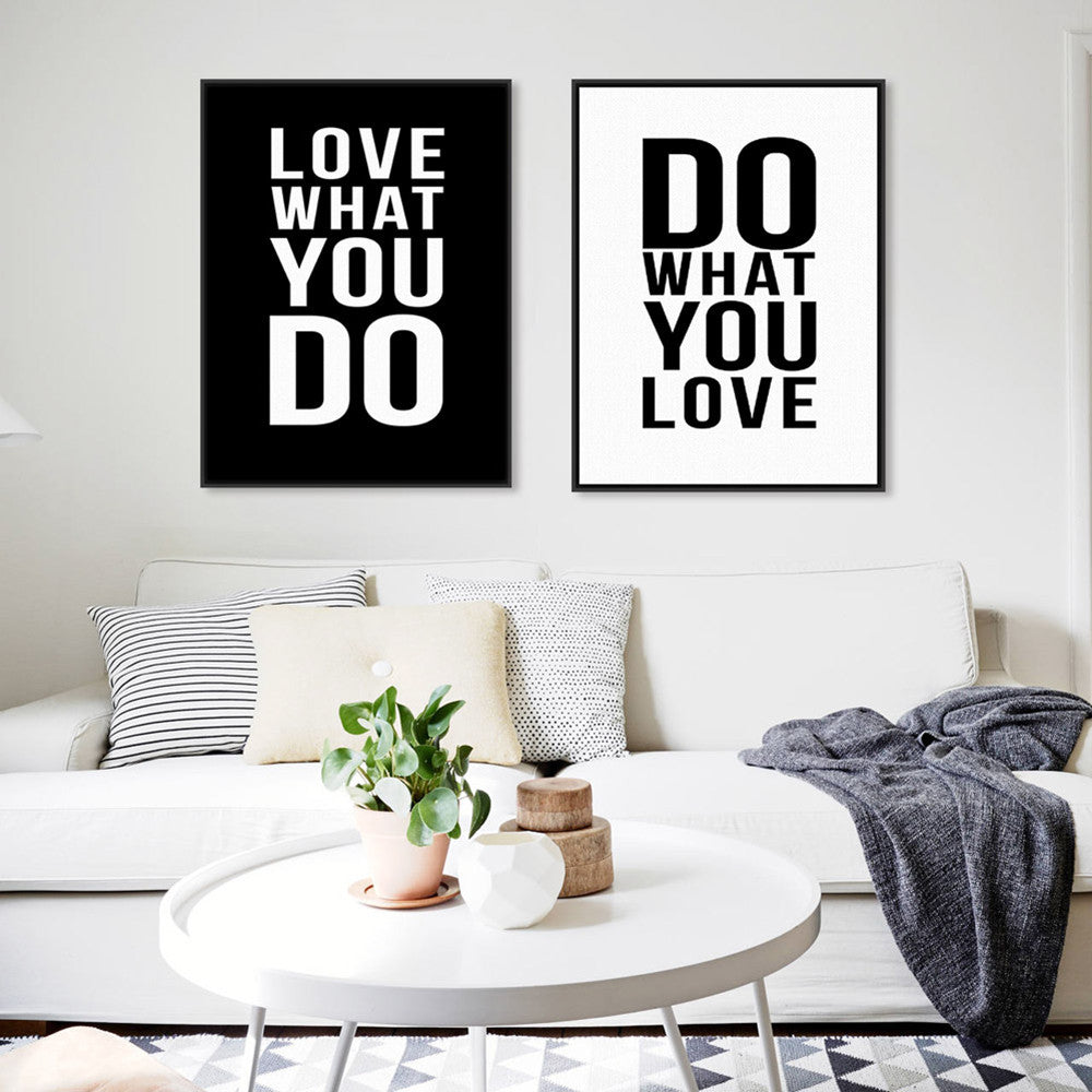 2 Panel Black White Motivational Love Quotes Poster Print Vintage Picture  Canvas Painting Wall Art Home